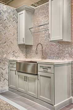 Kitchen Backsplash Tile   Stainless Steel Penny Mosaic Tile  Https://www.tileshop