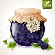 Stock vector of 'Natural organic homemade forest blackberry jam in glass jar with tag and paper cover vector illustration'