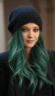 teal green hair that slay, literally all day! Pair your envious hairstyle with a comfy beanie for a casual and breathtaking look #hairenvy