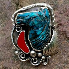 """Handcarved Turquoise Coral Ring by Francisco Gomez Magnificent! Doesn't describe this Hand Carved Natural Horsehead Coral Ring by Spanish Master Silversmith Francisco Gomez. This piece is completely hand wrought in Sterling Silver, and measures 1 1/4"""" X 1 3/4"""" with the Horse head alone 25x25mm, accented with Red Coral, Sterling Leaf, Swirls, Beads and fancy Bezel setting. With a Split Shank, the Ring is a Size 10 and weighs 19g. OML!!!! Francisco Gomez Jewelry Rings"""