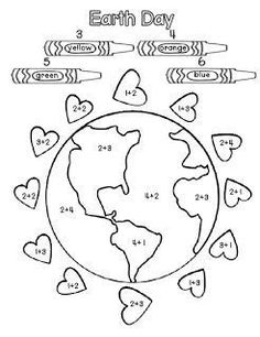 Earth week Math Coloring activity for Earth Day! Teach your kids to love the Earth (and all the delicious foods that it naturally produces) Earth Day Worksheets, Earth Day Activities, Spring Activities, Color Activities, Preschool Worksheets, Holiday Activities, Earth Day Crafts, 2 Kind, Love The Earth