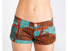 Boho Surf Shorts -- Low Rise Shorts in a Blue & Red Retro Graphic Print on Etsy, $45.00
