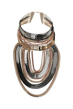 TOPSHOP Chain Drape Collar    add rings to ends of each link of chain and stack horizontally rather than interlock. Thread something sparkly through rings