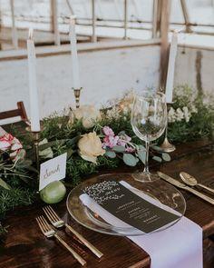 how can we resist a greenhouse wedding?   photo @jennabriannephoto @seerahbrookhart floral design @rosemaryandrust venue @historicshadylane wedding dress @bylillianwest hair and makeup @the.bonafide.ginger wedding cake @flourchildpa rentals @barnesfarmtables @onalarkrentals linens @qtsprettylilthings wedding invitations @asunshinelover #onRuffled #ruffledblog #tablescape by ruffledblog