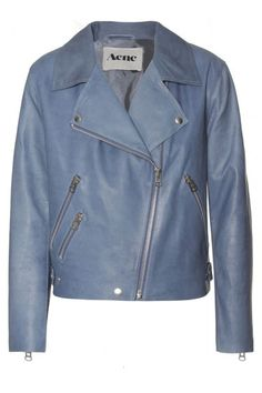 yes, please to a pretty periwinkle leather jacket.