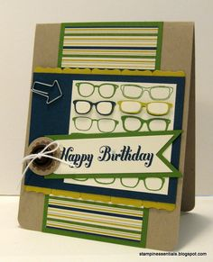 Masculine Stampin' Up! Birthday card with the Spec-Tacular stamp #MojoMonday