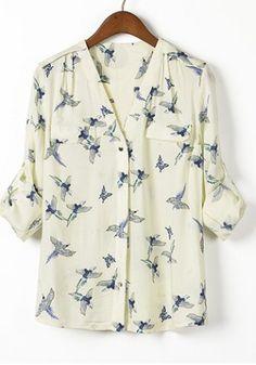 Casual Style V-Neck Full Bird Print Long Sleeve Women's Blouse