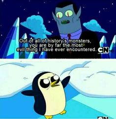 Adventure time<< I didn't get fully thru the show but do u think Gunter wore the crown at points and it partially corrupted him and is why he always tried to take ice king/Simons throne? Adventure Time Gunter, Adventure Time Funny, Adventure Time Finale, Adventure Time Cartoon, Land Of Ooo, Funny Memes, Jokes, Funny Videos, Funny Quotes