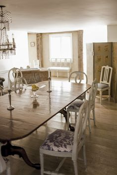 Swedish Interiors by Eleish van Breems - Fortuny fabric covered Eleish van Breems Collection Gustavian style chairs