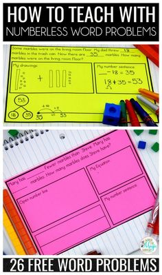 A great article with an explanation on how to teach mathematical reasoning with numberless word problems. The addition and subtraction situations provided are designed for students in and a numberless word problems PDF with 13 worksheets is provided f Fourth Grade Math, Second Grade Math, Grade 2, Math Problem Solving, Solving Equations, Eureka Math, Math Graphic Organizers, Math Word Problems, Math Workshop