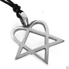 Heartagram necklace ville valo him heartagram gothic silver pewter heart pentagram heartagram rock pendant aloadofball Image collections