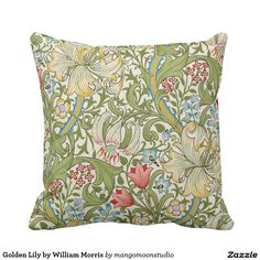 Golden Lily by William Morris Throw Pillows