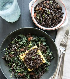 Braised Lentils over Grilled Polenta | What's Cooking Good Looking