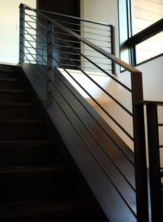 Yes: blackened metal stair and railing - can be exterior at decks AND interior stair