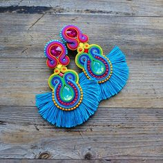 Your place to buy and sell all things handmade Bead Embroidery Jewelry, Beaded Jewelry Patterns, Textile Jewelry, Bead Jewellery, Beaded Embroidery, Diy Earrings, Fashion Earrings, Earrings Handmade, Soutache Necklace
