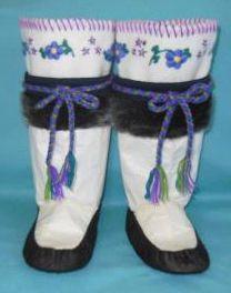 Inuit made girl's sealskin kamiks by Annie Bowkett