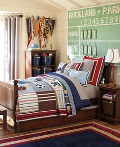 Awesome sports bedroom ideas for active boys. I love how the decor accessories work so well with the blue furniture in this Pottery Barn Kids bedroom set. I think I found a tutorial at knockoff decor to make it. Pottery Barn Kids, Bedroom Themes, Kids Bedroom, Bedroom Ideas, Childrens Bedroom, Bedroom Designs, Warm Bedroom, Bedroom Decor, Wall Decor