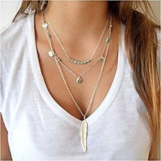 Under $9!!! Multilayer Chain Turquoise Beads Necklace with Feather Pendent