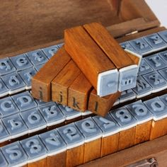 Wholesale 70pc Number Alphabet Letter Wood Stamp With Wooden Box
