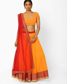 Buy Orange AJIO Flared Lehenga Choli Set with Embroidery