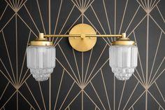 Vanity Light - Art Deco - Art Deco Fixture - Modern Art Deco - Skyscraper Shade - Mirror Light - Bathroom Vanity - Model No. Vintage Industrial Lighting, Antique Lighting, Art Deco Bathroom, Bathroom Lighting, Light Bathroom, Art Deco Mirror, Art Deco Vanity, Bathroom Lamps, Minimal Bathroom