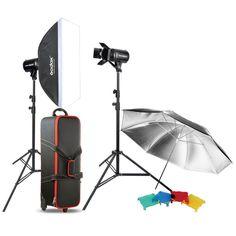 Godox 500W Studio Flash Lighting Photography Umbrella Softbox Strobe Light Kit