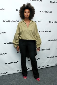 Solange Knowles poses backstage at the Karigam fashion show during Spring 2016 New York Fashion Week: The Shows at The Gallery, Skylight at Clarkson Sq on September 11, 2015 in New York City.