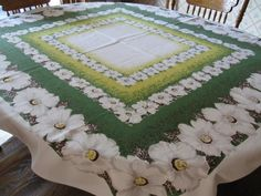 Pineapple House Antiques ~ Vintage White Floral Tablecloth!