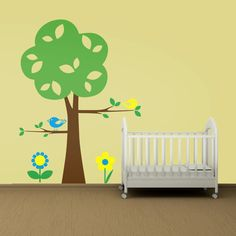Wall Decal: Tree Birds on Branch and Flowers- Baby Nursery Kids Vinyl Sticker Mural
