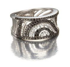 black and white diamond band ring.