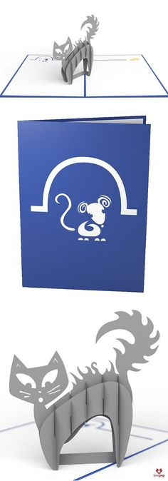 The vivid blue cover of this adorable pop-up greeting card features a laser-cut illustration of a mischievous mouse emerging from his home in search of a treat. Once opened the Scaredy Cat card reveal 3d Cards, Pop Up Cards, Kirigami, Sliceform, Libros Pop-up, Paper Art, Paper Crafts, Dog Scrapbook, Origami Architecture