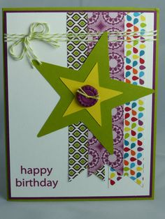 Stampin Up Handmade Greeting Card: Happy Birthday Card, Masculine Birthday Card, Husband, Father, Brother, Son Grandfather Teen Nephew Star