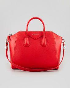 Givenchy Antigona Medium Sugar Goatskin Satchel Bag, Red
