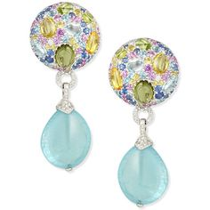 Margot McKinney 18K White Gold Multi-Stone & Aquamarine Drop Earrings ($21,400) ❤ liked on Polyvore featuring jewelry, earrings, colorful earrings, tri color earrings, 18 karat gold earrings, drop earrings and aquamarine jewelry