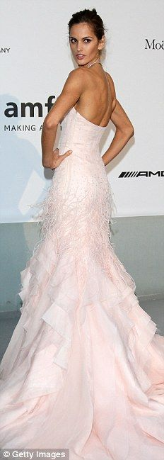 Cannes 2014.  amFAR.   Izabel Goulart stunned in pale pink