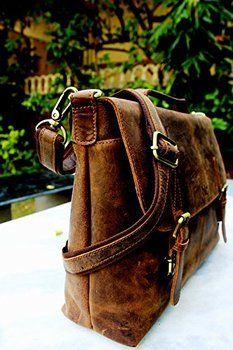 Handolederco Vintage Rustic Buffalo Hide Leather Messenger Satchel Laptop  Briefcase Shoulder Bag for Men s and Women 2 d539895fa1