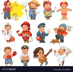 Professions isolated on white background Vector Image - Mathe Ideen 2020 Kids Cartoon Characters, Cartoon Kids, School Work Organization, Fire Prevention Week, Community Workers, English Fun, Cartoon Sketches, Speech And Language, Kids Education