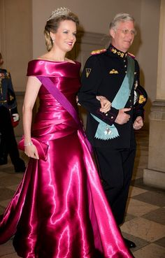 Queen Mathilde of Belgium and King Phillipe of Belgium attend a Gala Dinner at Christiansborg Palace on the eve of The 75th Birthday of Queen Margrethe of Denmark on April 15, 2015 in Copenhagen, Denmark.