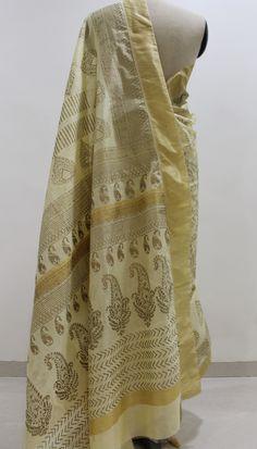 Cream and Gold Hand Block Printed Chanderi Saree..To Buy this beautiful saree drop a message