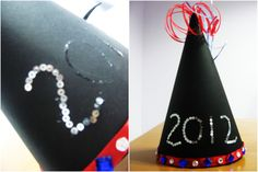 New Year Hat – Free, Fun New Year Crafts for Kids – JumpStart New Year's Crafts, Hat Crafts, Crafts For Kids, Different Patterns, Different Colors, New Years Hat, Glitter Glue, Free Fun, Kids Hats