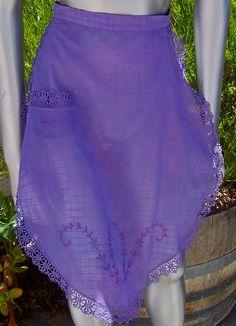 Vintage DOWNTON ABBEY Apron Linen Embroidered PURPLE by dyenah, $35.00