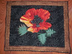 Poppy thread painted quilt