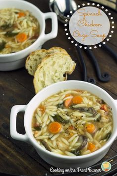 Spinach Chicken Orzo Soup-- so yummy. even better the next day when the orzo has soaked up all the flavor Chicken Orzo Soup, Spinach Stuffed Chicken, Spinach Soup, Tofu Soup, Tortellini Soup, Lemon Chicken, Roasted Chicken, Soup Recipes, Cooking Recipes
