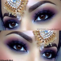 This arabian nights inspired look uses purple and black smokey eyes. See the products used here for inspiration.