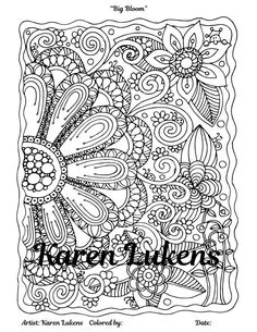big bloom 1 adult coloring book page printable instant download flowers