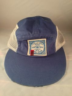 Vintage Polo Ralph Lauren Mesh Hat Fitted 1992 Bear Flag