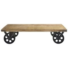 Wood and metal coffee table on castors W 145cm - Gare du Nord