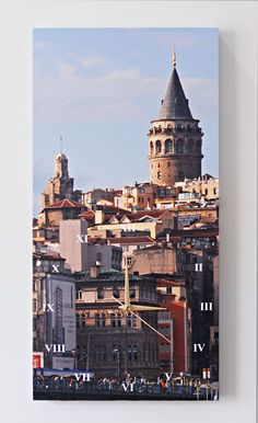 Galata Tower Special Design Wall Clock. Buy this canvas print Wall Clock from Modarty Art Gallery #art, #canvas, #design, #painting, #print, #poster, #decoration, #wall clock