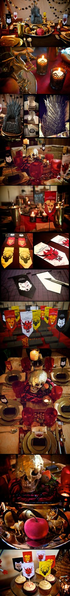 """Here is a handsome Game of Thrones Gathering table.  Some great ideas include DIY small banners, Viserys' """"Golden Crown"""" centerpiece and a  a mini-Iron Throne, fashioned from (super cheap!) plastic sword toothpicks, popsicle sticks (base layer), air-dry & sculpey clays, craft glue, and black & silver spray paint for finishing."""