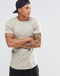 ASOS Extreme Muscle Longline T-Shirt In Rib With Curved Hem In Beige £12.00 @ Asos